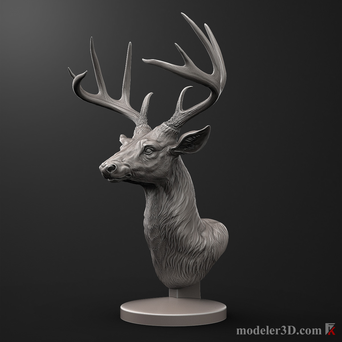 Printable Deer Head Sculpture 3D