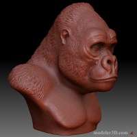 Горилла Gorilla Head for 3d printing, CNC milling