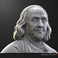 Benjamin Franklin bas relief 3D model