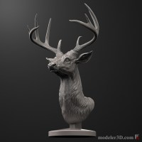 Deer Head Sculpture for 3d Printer