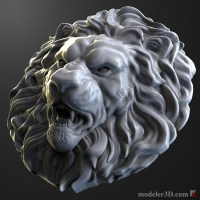 lion head bas-relief for cnc 3d model