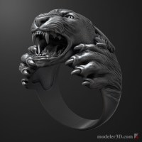 Panther ring 3D print model