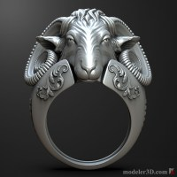 sheep Head ring 3D print model