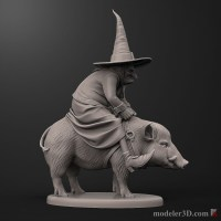 witch ride in on a pig 3D print model